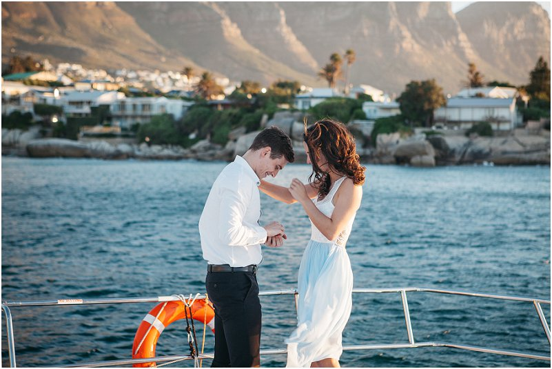 luxury yacht cape town engagement photos